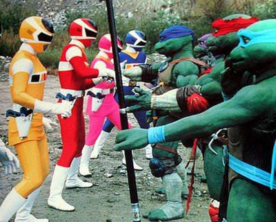 tortugas ninja y power ranger
