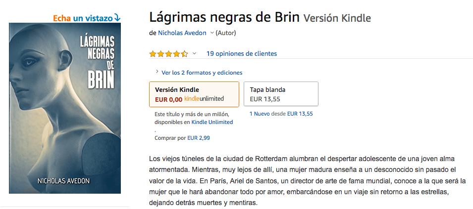 Lagrimas negras de Brin - Reseñas en amazon